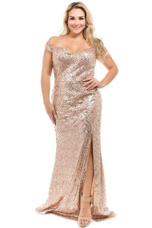 Rose Gold Sequin Off Shoulder Plus Size Dress in 2019 | Plus ...