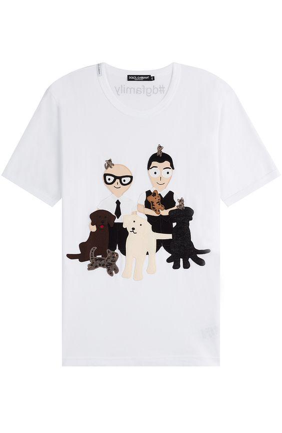 DOLCE & GABBANA Cotton T-Shirt with Appliques. #dolcegabbana #cloth #t-shirts