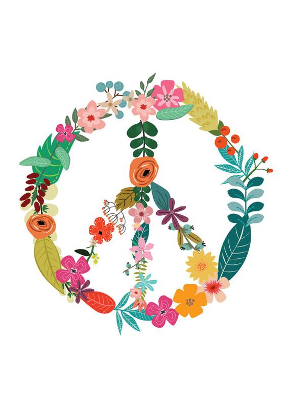 Floral Peace Sign Flower Power Motivational Print Inspirational