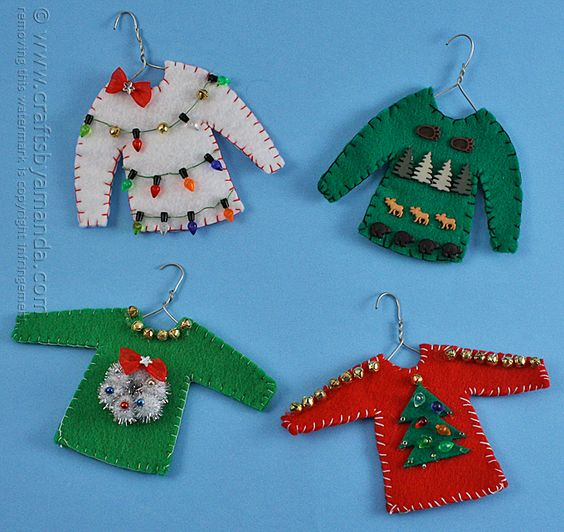 How about some little Ugly Christmas sweaters as Christmas ornaments to hang on the tree? Too cute!