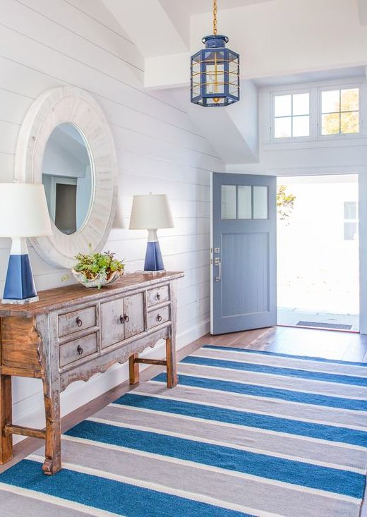Navy Blue White Striped Area Rugs Shop The Look Of These Interior Designs Beach House Interior Coastal Interiors Beach House Decor