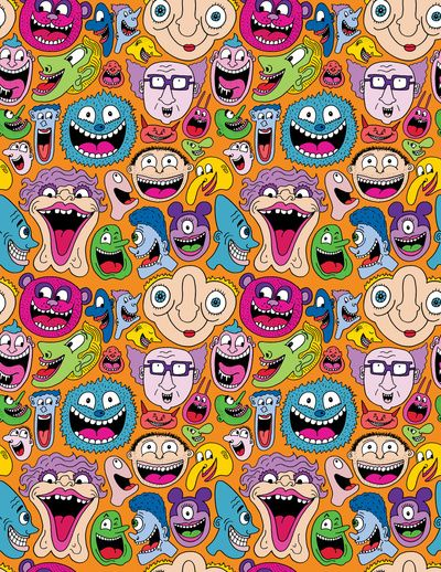 Creepy Smiles Pattern Art Print