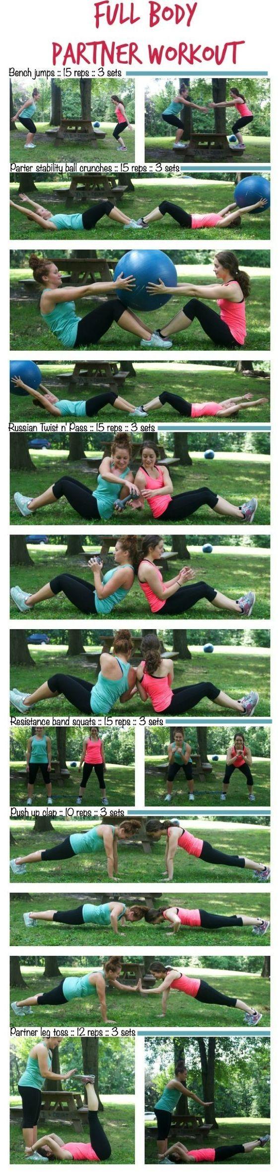 Full Body Partner Workout1.jpg http://thealmondeater.com/2014/09/full-body-partner-workout/ #Fitness #Nutrition Pin/Source -