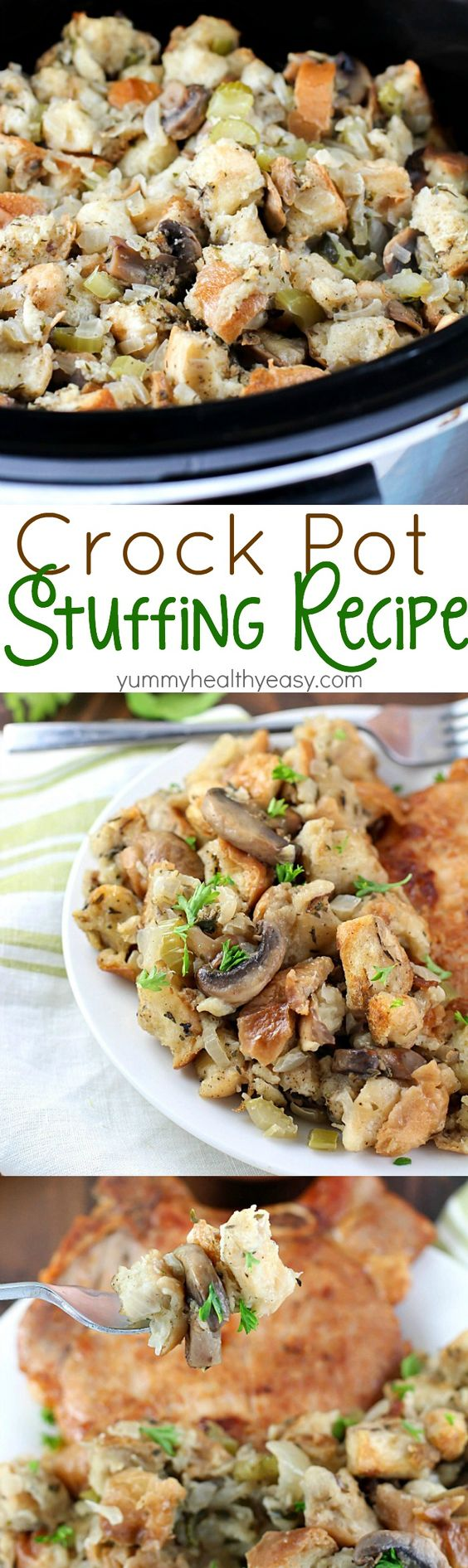 So many great spices & flavors going on in this Crock Pot Stuffing Recipe! It beats the pants off of those other blah stuffing recipes. Plus it's cooked in the slow cooker, so you can put it in hours before dinnertime and not even think about it until you eat! Perfect for Thanksgiving or any other day of the year!
