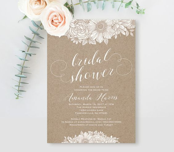 Bridal Shower Invitation Template, Printable Wedding Shower Card - bridal shower invitation templates download