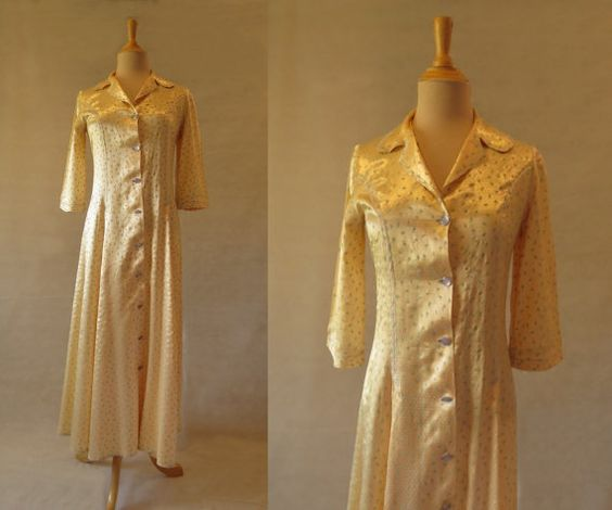 Lemon Floral Print Satin Dressing Gown, Robe - 1940s