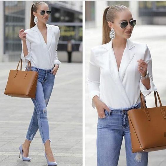 Outfit Jeans Oficina Mujer Y Blusas De Vestir Ropa De Moda Ropa Casual De Negocios Ropa