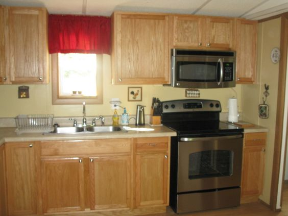 Window treatments kitchen redo and home on pinterest for Mobile home kitchen makeover ideas
