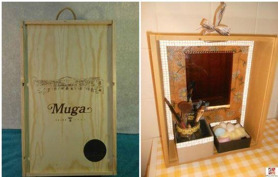 Una caja de vino convertida en estantería