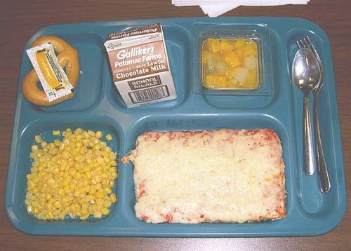 School lunch. Square pizza, chocolate milk, corn goes with everything.