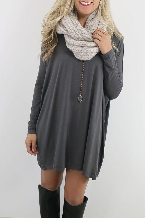Ellington Dark Grey Long Sleeve Piko Dress