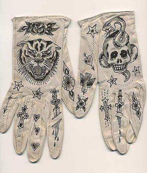 Ellen Greene, tattooed leather gloves