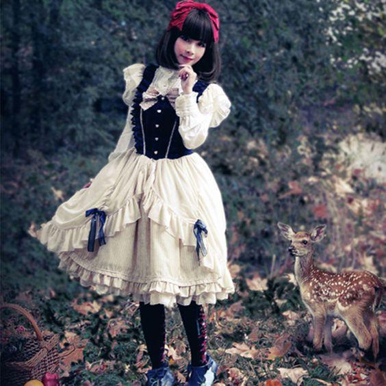 Lolita Fashion Cotton Keen-length Short Sleeve Sweet Lolita Dress #lolita #lovejoynet