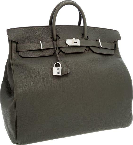 price of hermes birkin - Hermes 50cm Vert de Gris Togo Leather HAC Travel Birkin Bag with ...