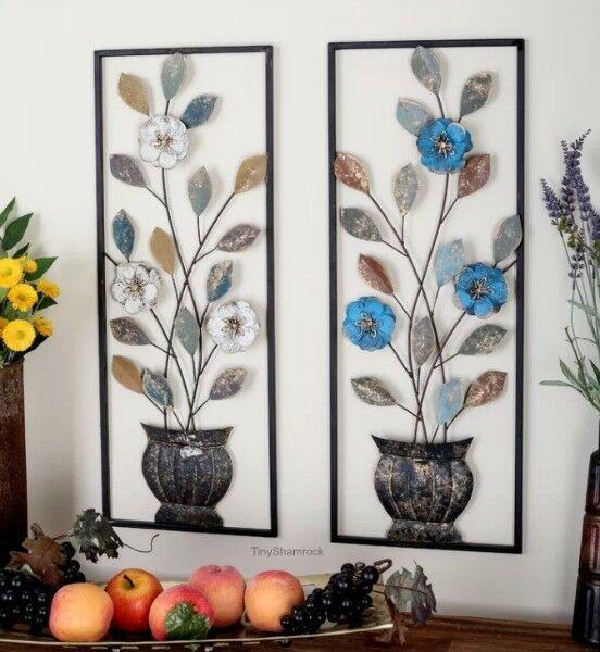 Floral Wall Art 2 Pc Panels Flower Pots Large Metal Dimensional 29