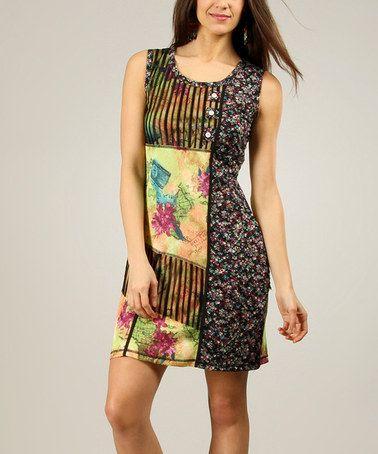 Another great find on #zulily! Yellow & Black Flower Atlas Sheath Dress - Women #zulilyfinds