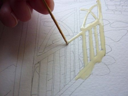 apply masking fluid with a toothpick or the round end of a small brush. Art by Vivian Swift.