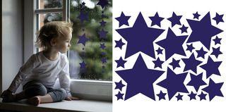 Hviezdy farebné - samolepky na stenu a okno