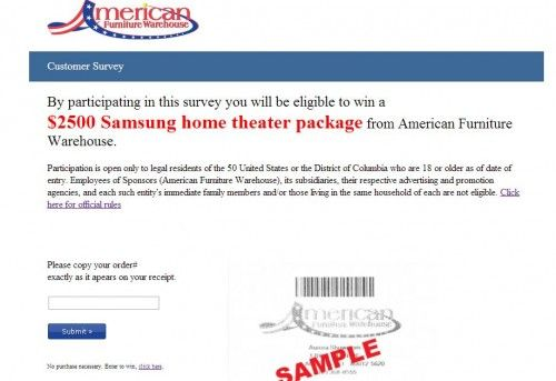 American Furniture Warehouse Customer Feedback Survey Www