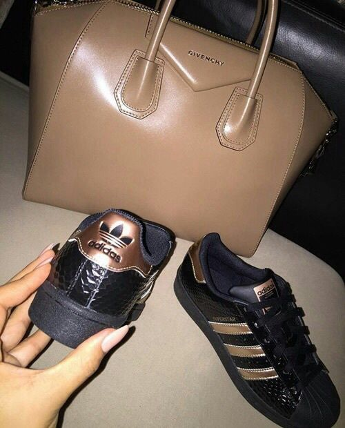 adidas black shoes with givenchy bag