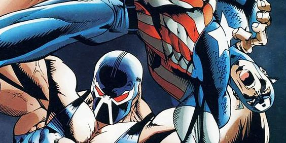 Bane about to break captain america's back