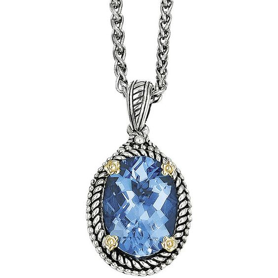 Shey Couture Genuine Swiss Blue Topaz Sterling Silver Necklace ($287) ❤ liked on Polyvore featuring jewelry, necklaces, chain necklaces, long pendant necklace, sterling silver necklace pendant, 14k chain necklace and long pendant