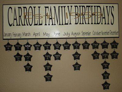 family birthday organization: Good Ideas, Family Birthdays, Birthday Board, Birthday Chart, Craft Ideas, Awesome Idea, Birthday Ideas