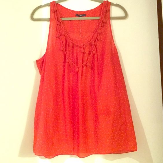 Orange summer tank with embellished drape neck Wispy cotton (70%)/silk (30%) sheer top in beautiful on-trend orange color and crocheted embellishment at neckline. NWT! GAP Tops Tank Tops