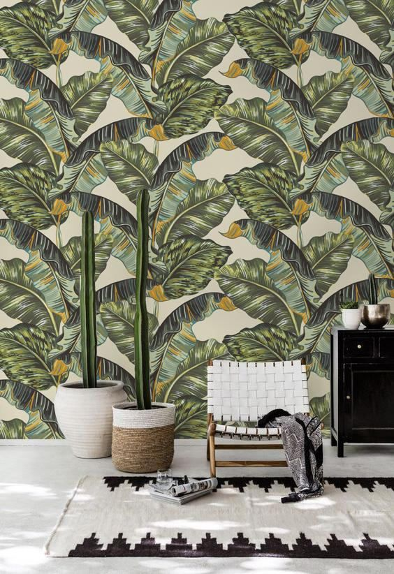 Tropical Plam Leaves Wallpaper Wall Covering Decal Removable Wallpaper Banana Leaf Wallpaper Traditional Wall Mural 111 Leaf Wallpaper Wall Wallpaper Palm Leaf Wallpaper