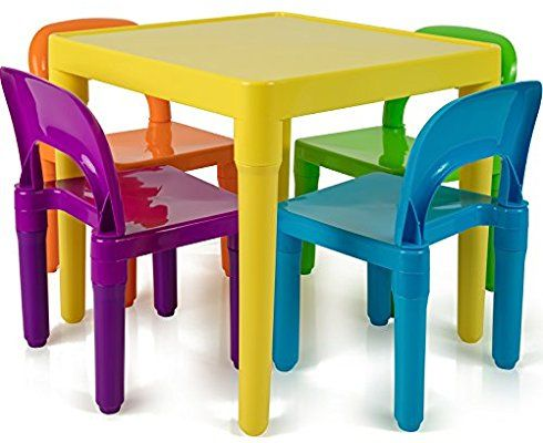 Amazon Com Oxgord Kids Plastic Table And Chairs Set Multi Colored Children Activity Table And Cha Kids Table And Chairs Table And Chairs Kids Activity Table