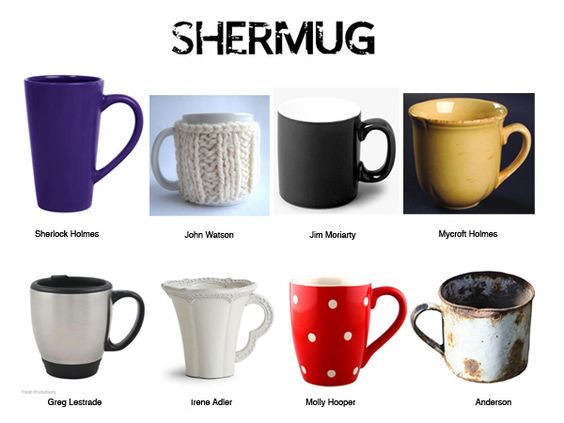 Bwahahaha I love the fact that Anderson's mug is a rusty old tin one. Although I think Mycroft should have a gilt-edged Royal Doulton teacup.