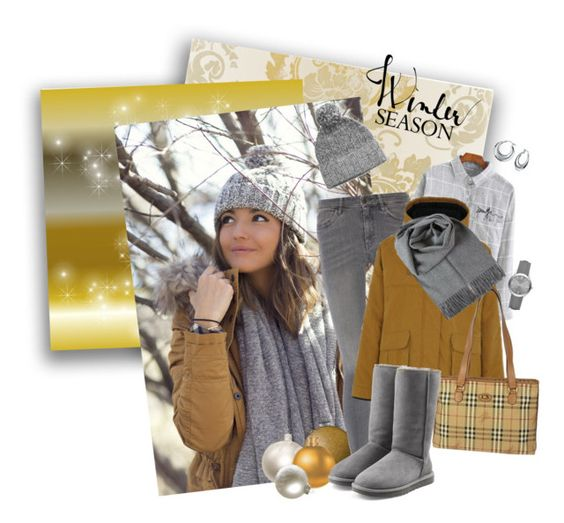 """Gray and Mustard Winter"" by carla-palmisano-50 ❤ liked on Polyvore featuring MiH Jeans, Parka London, rag & bone, Burberry, UGG Australia and Bling Jewelry"