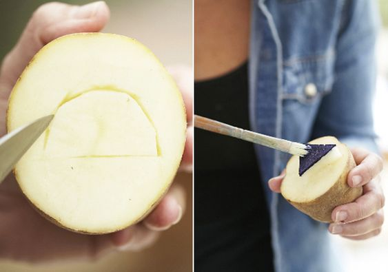 DIY potato print swaddles   100 Layer Cakelet