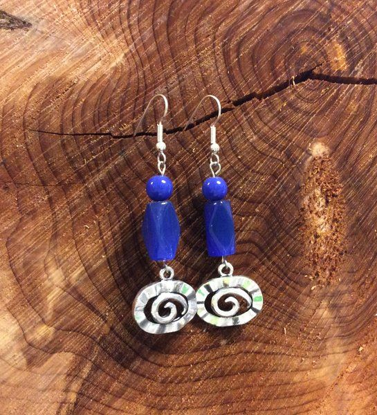 Handcrafted Blue Lapis Lazuli Earrings with Swirls