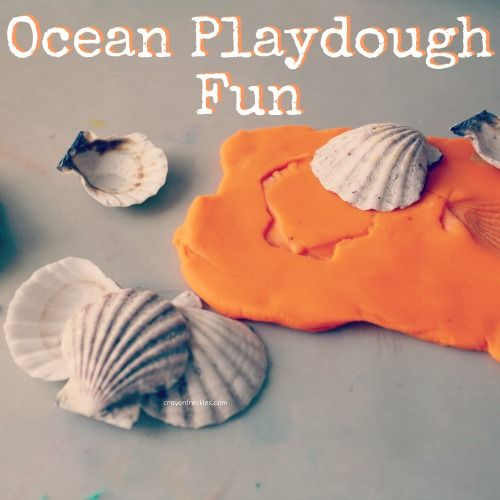 ocean playdough fun — use seashells for imprints and molds