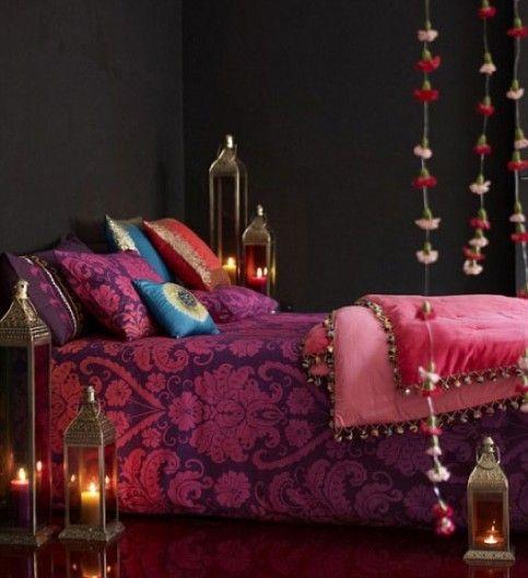 Purple bedroom. so lush!