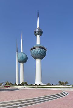Kuwait Towers The main tower is 187 metres (613.5 ft) high and carries two spheres. The lower sphere holds in its bottom half a water tank of 4,500 cubic meters and in its upper half a restaurant for 90 persons, a café, a lounge and a reception hall.