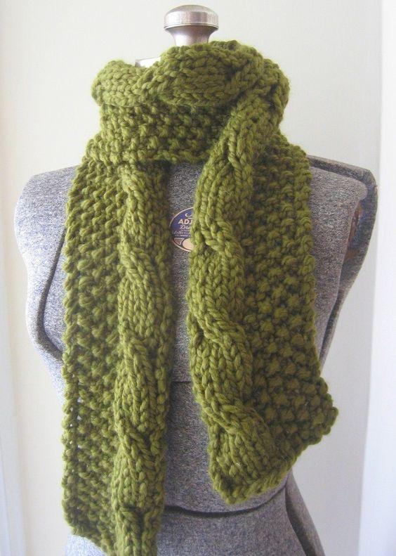 Long Cabled Chunky Knit Scarf - PDF pattern via Etsy. Knitting Pinterest ...
