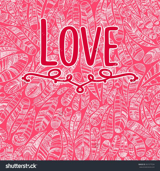 Hand drawn feathers background  .Beautiful Valentine's day love card. I love you.  Love is in the air.Swirl feathers