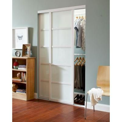 Contractors Wardrobe 72 in. x 81 in. Tranquility Glass Panels Back Painted White Wood Frame Interior Sliding Door-TR5-PSW7281WH2X - The Home Depot