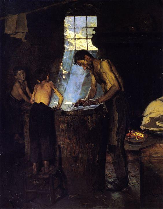 Peder Severin Krøyer, Italian Village Hatters, 1880, Oil on canvas, 135,3 x 107 cm, Hirschsprung Collection, Copenhagen