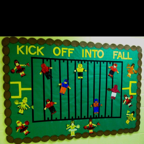 "Bullentin board idea for football player and football idea. Takes place on a field. And, it promotes entering fall. Bringing in lots of ""f"" words into one bullentin board. I am loving it ! :-)"