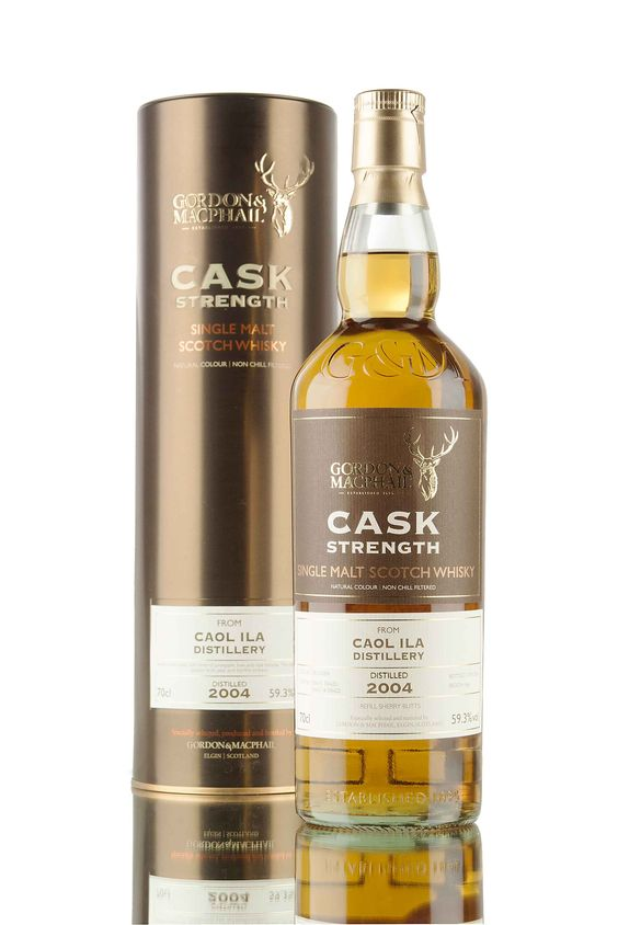 Distilled 8th December 2004 and aged in refill sherry butts for 11 year. This Caol Ila single malt Scotch whisky from Islay was bottled in 2016 by Gordon & MacPhail for their Cask Strength series.