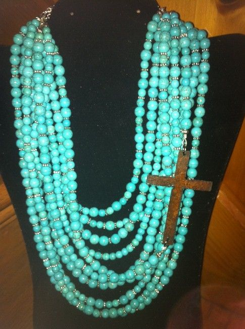 Ten Strand Turquoise Necklace with Rust Cross---NEED THIS!!!