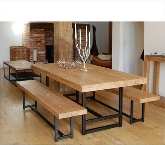 American Retro Furniture Rustic Wrought Iron Wood Tables And