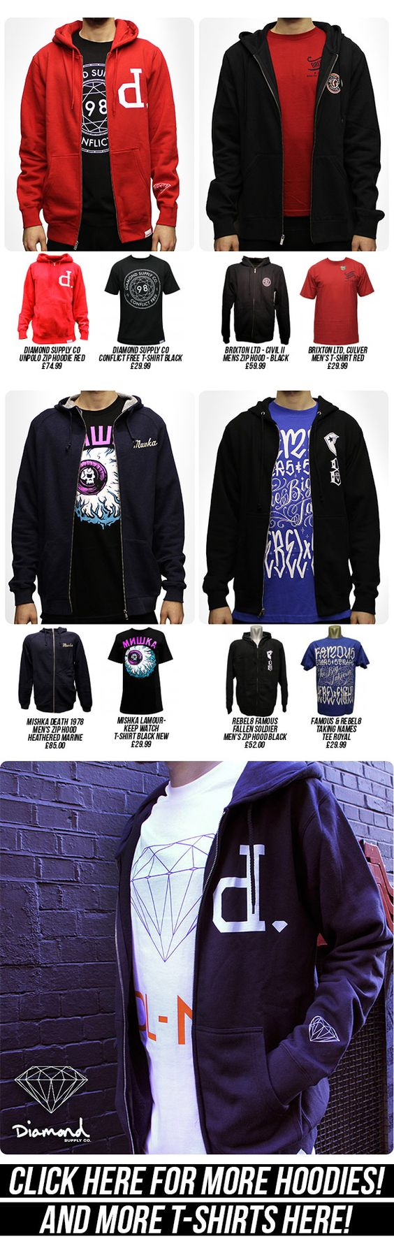 """a piece from """"Zip hoods and Tee Combo's"""" newsletter from last week. Find more here: http://www.everythinghiphop.com/Hoodies/"""