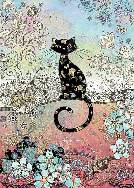 Patterned Cat - Bug Art greeting card: