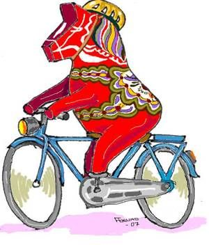 "And, of course, we need some NORSE CONTENT!!!! Dalahäst ❤️ (Dala Horse). You can tell this horse is Swedish because he is spelled ""häst"". (A Danish or Norwegian horse is a ""hest"".) Also, he is riding a bicycle....:"