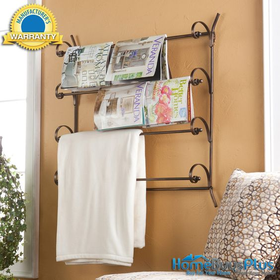 Magazine / Towel Rack Scrolled Metal Office Bath Home Craft.  $59.99