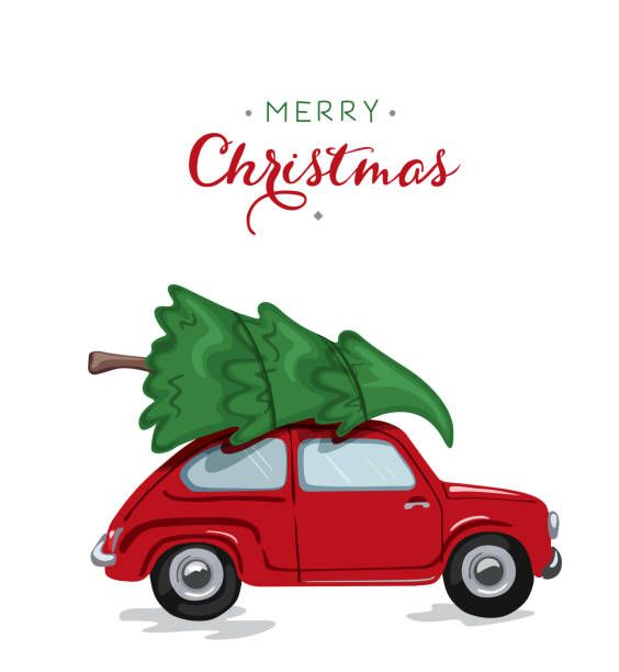 Royalty Free Car Carrying Christmas Tree Clip Art Vector Images Illustrations Is Christmas Tree Clipart Christmas Illustration Wallpaper Iphone Christmas